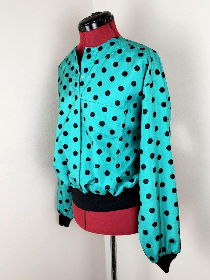80s Josephine Polka Dot Windbreaker Blouse Silky