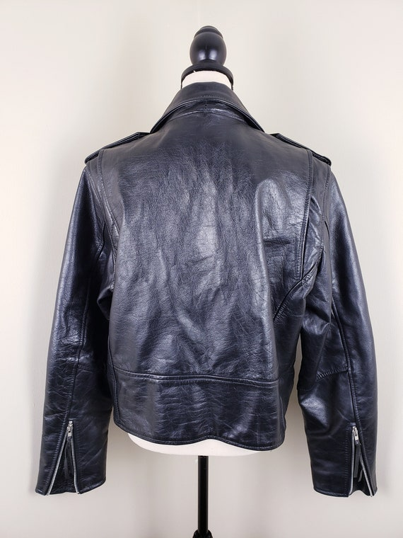 Vintage Black Motorcycle Biker Jacket Leather Bel… - image 8
