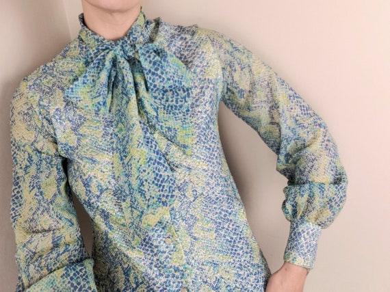 70s Sparkly Snake Print Blouse Pussy Bow Vintage … - image 2