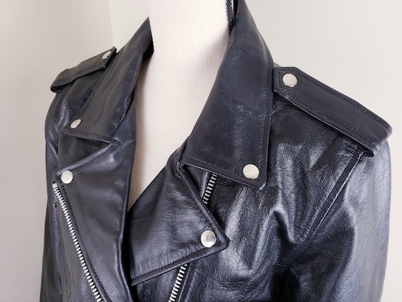 Vintage Black Motorcycle Biker Jacket Leather Bel… - image 7