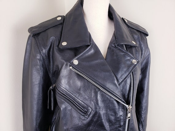 Vintage Black Motorcycle Biker Jacket Leather Bel… - image 4