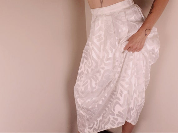 80s Vintage Full Length Organza Pleated Skirt Whit