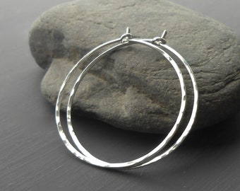 Sterling Silver Hoop Earrings, Medium Thin Hammered Silver Hoops, minimal earrings
