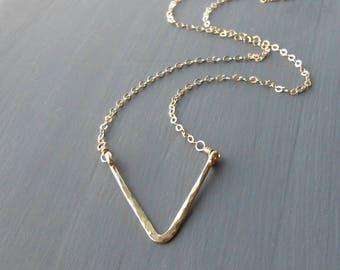 Simple Gold Necklace, Gold Filled Triangle Necklace, Minimal Jewelry