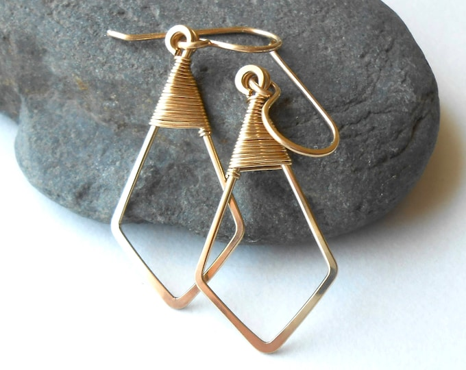 Featured listing image: Gold Filled Geometric Minimalist Wire Earrings