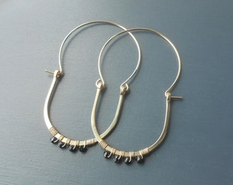 Gold Filled Wire Wrapped Swingy Hoops with Black Spinel
