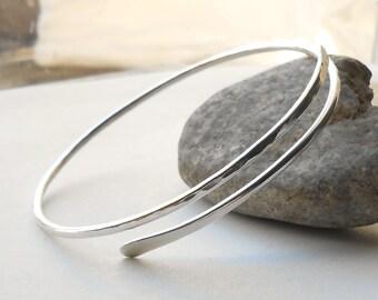 Sterling Silver Bangle Bracelet, Hammered Silver Bracelet, Artisan Jewelry