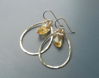 Gold Hammered Oval Dangle Earrings with Raw Citrine Nuggets