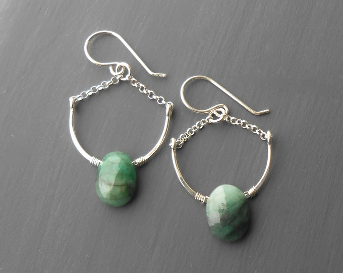 Featured listing image: Sterling Silver Emerald Dangle Earrings
