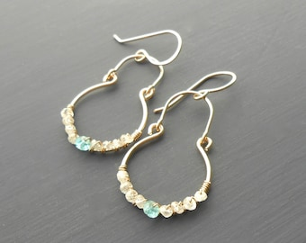 Gold Gemstone Dangle Earrings