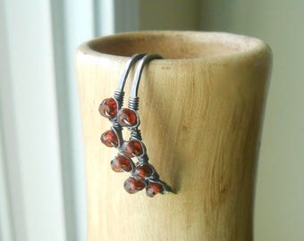 Garnet Wire Wrapped Antiqued Silver Hoop Earrings