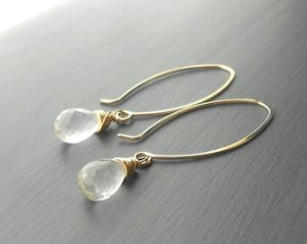 Quartz Crystal Earrings, Long Gold Drop Earrings, Gold Filled Dangle Briolette