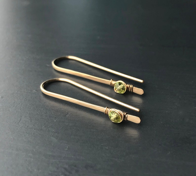 Peridot Earrings Sterling Silver or Gold Wire Threader image 0