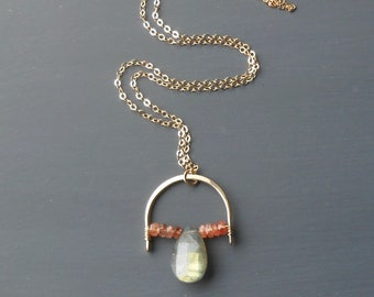 Labradorite, Sunstone Pendant, Gold Filled Gemstone Necklace