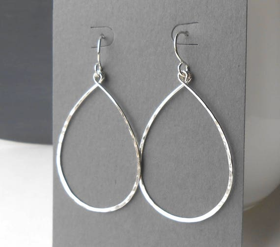 a89c932b388 Large Sterling Silver Hoop Earrings, Thin Silver Teardrop Dangle Hoops,  Wire Jewelry
