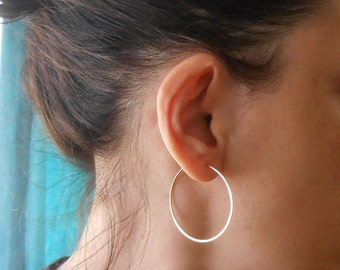 """Simple Gold Filled Wire Hoops, 1.5"""""""