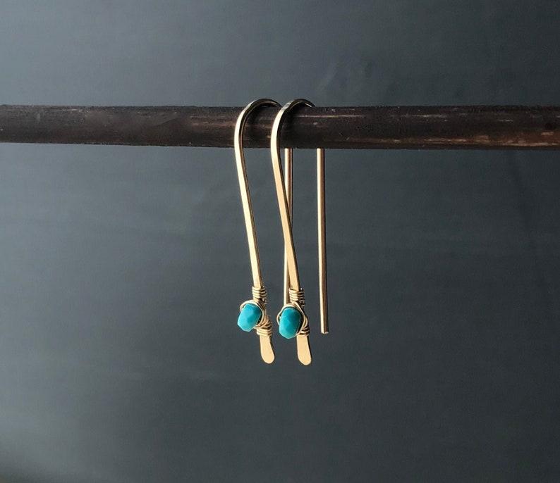 Turquoise Earrings Gold Wire Threader Minimalist Gemstone image 0