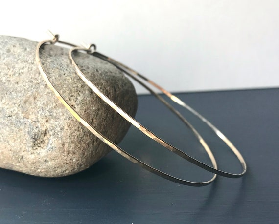 Hammered Gold Filled Endless Wire Hoops, Extra Large