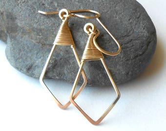 Gold Filled Geometric Minimalist Wire Earrings