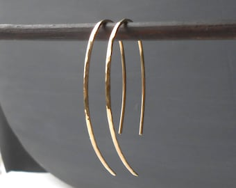 Hammered Gold Filled Oval Threader Earrings