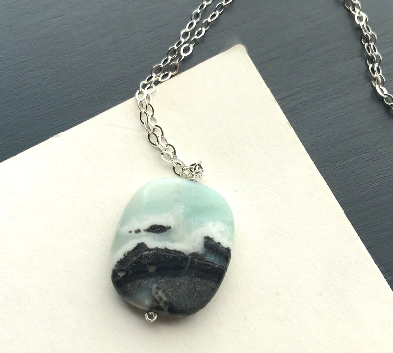 Long Gemstone Pendant Necklace Sterling Silver Amazonite image 0