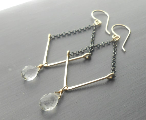 Long Gold Dangle Geometric Earrings with Crystal Quartz