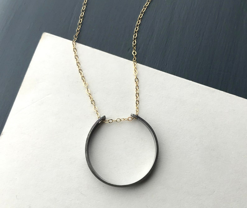 Long Circle Necklace Gold Necklace Chain with Oxidized Silver image 0