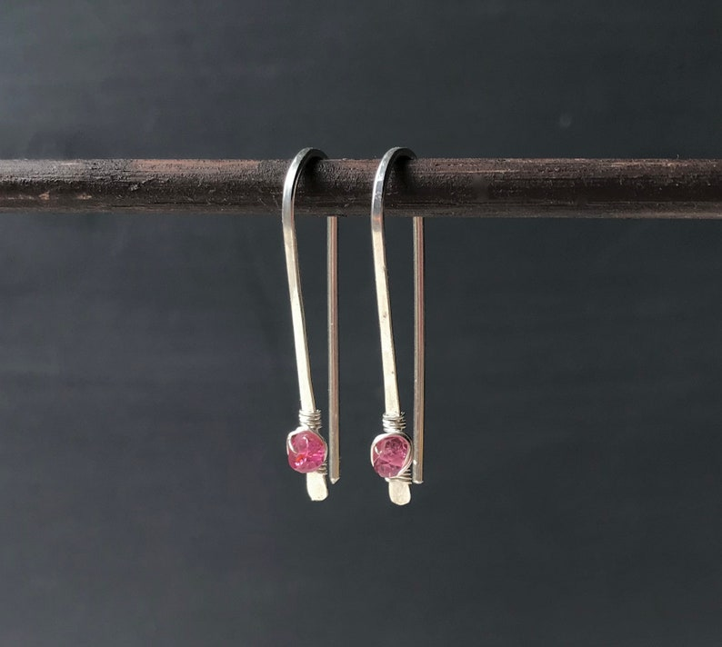 Pink Tourmaline Earrings Sterling Silver Wire Threader image 0