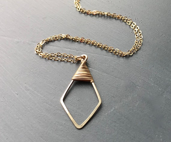 Geometric Gold Filled Pendant Necklace, Modern Jewelry