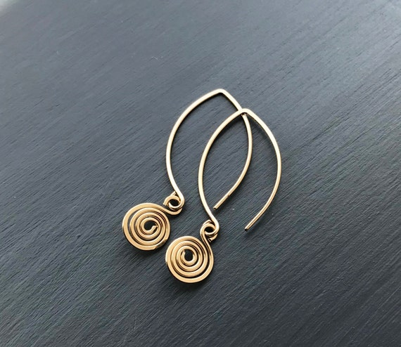Gold Dangle Earrings, Gold Filled Drop Earrings, Spiral Charms