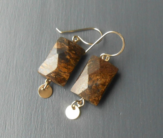 Gemstone Dangle Earrings, Bronzite and Gold Fill
