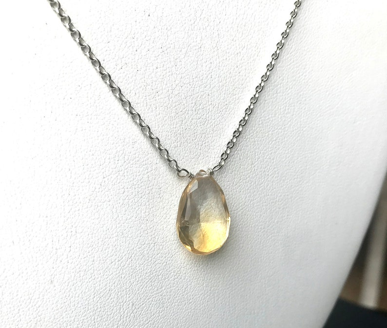 Citrine Necklace Sterling Silver Stone Drop Necklace image 0