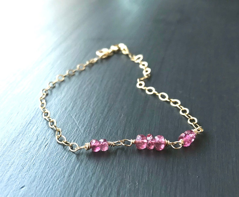 Pink Tourmaline Bracelet Gold Filled Beaded Dainty Chain image 0