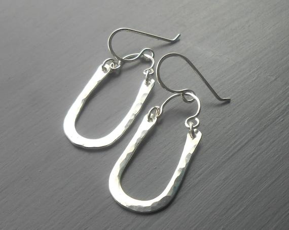 Hammered Sterling Silver Artisan Dangle Earrings