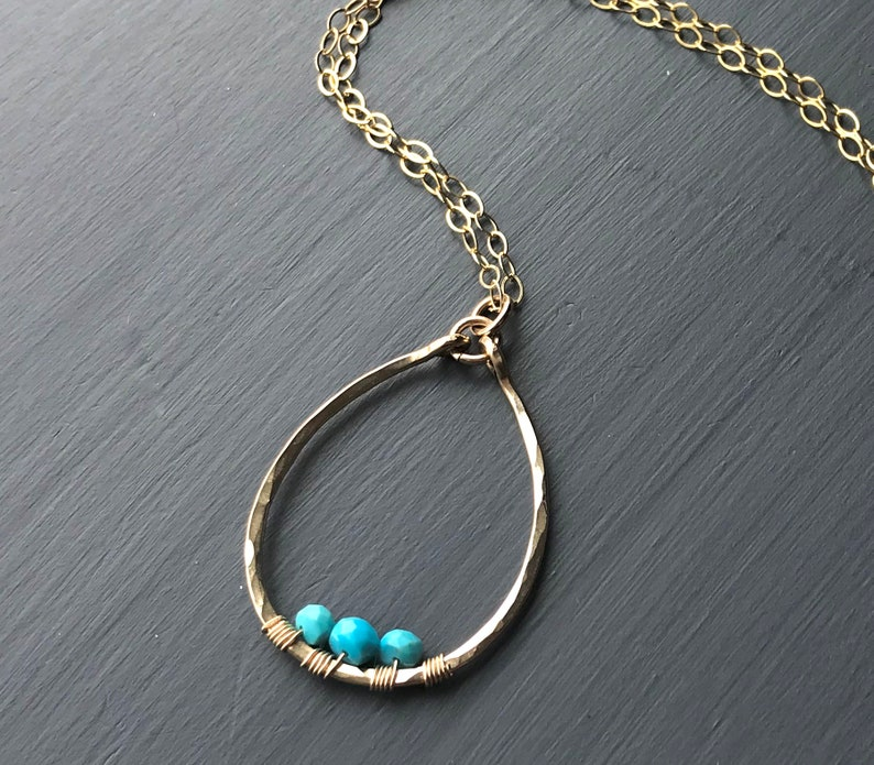 Long Gold Turquoise Necklace Gold Filled Hammered Oval image 0