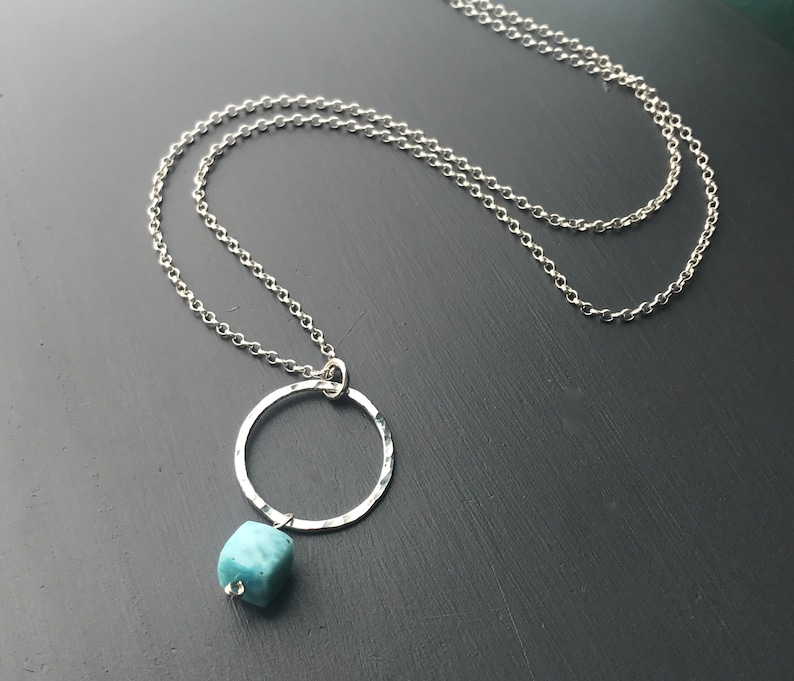 Larimar Necklace Long Silver Circle Pendant Necklace image 0