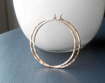 Thin Hammered Rose Gold Hoop Earrings, Medium Gold Filled Wire Hoop, Choose Size