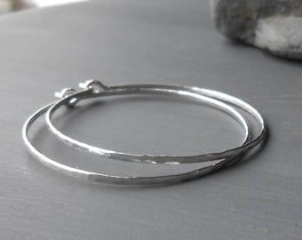 Medium Sterling Silver Hammered Hoop earrings