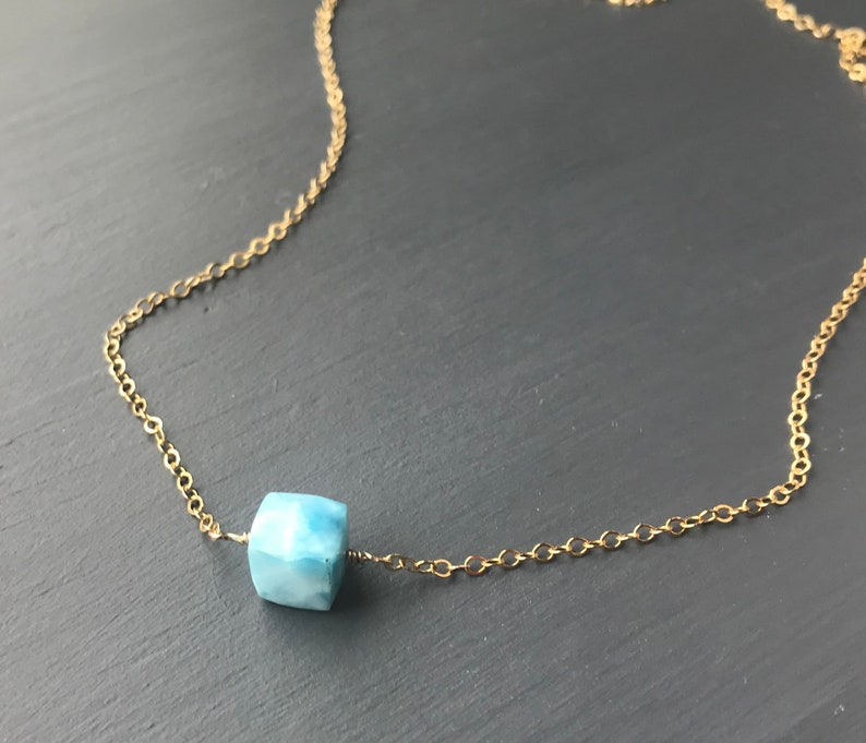 Gold Larimar Necklace Minimalist Stone Necklace image 0
