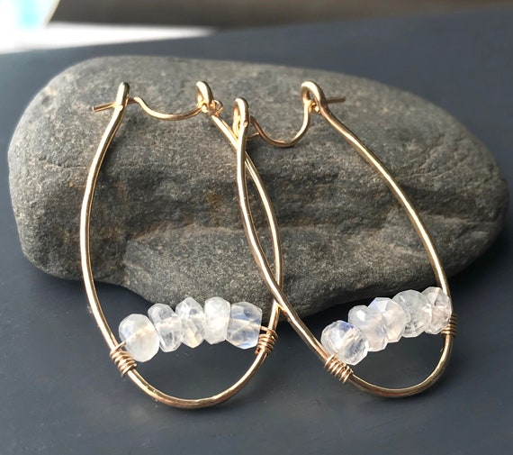 Gold Oval Hoop Earrings with Moonstone Beads