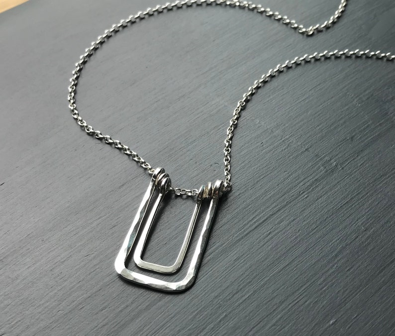 Long Silver Pendant Necklace Sterling Silver Hammered Square image 0