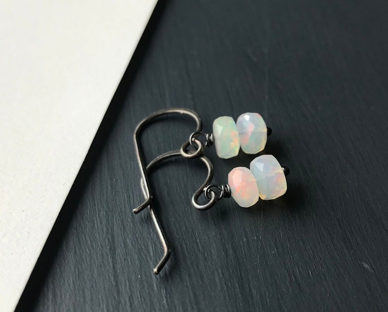 Sterling Silver Opal Earrings Oxidized Silver Natural Stone image 0