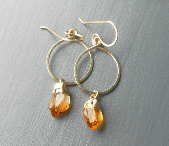Raw Citrine Nugget Gold Filled Dangle Earrings