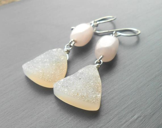 Sterling Silver Rose Quartz White Druzy Dangle Earrings