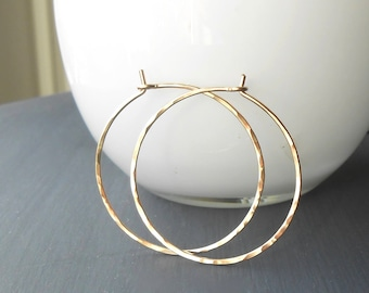 Thin Hammered Gold Filled Wire Hoop Earrings, 1 inch, 1.25, 1.5 inch