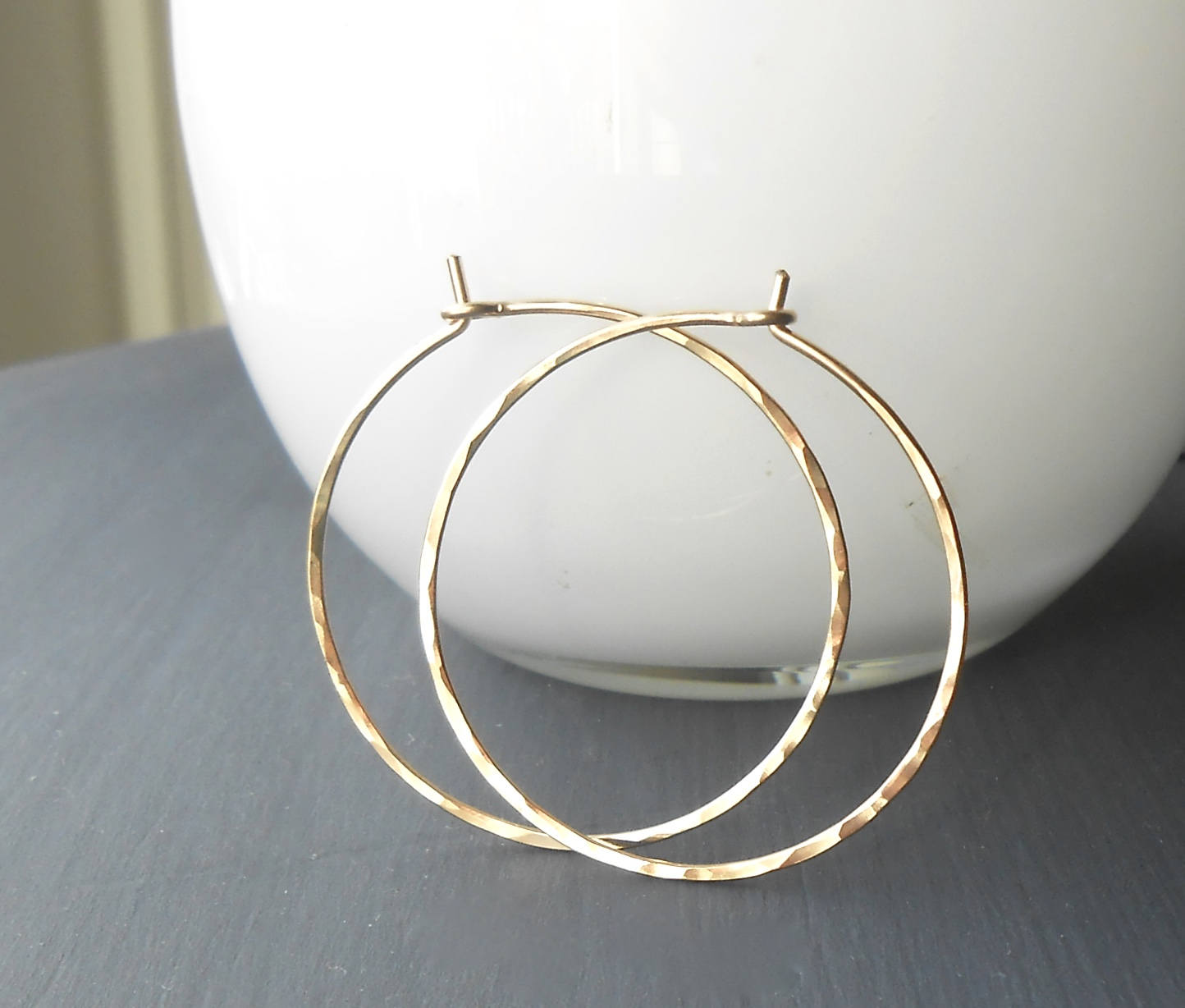 Thin Hammered Gold Filled Wire Hoop Earrings