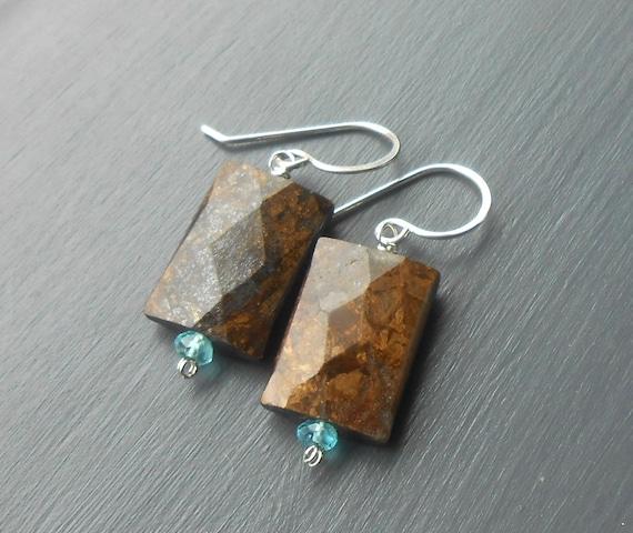 Bronzite Sterling Silver Dangle Earrings