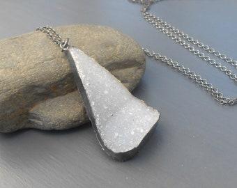 Long Oxidized Sterling Silver Druzy Necklace, Large Druzy Pendant