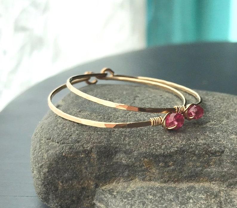 Pink Tourmaline Earrings Medium Gold Hoops with Gemstone image 0