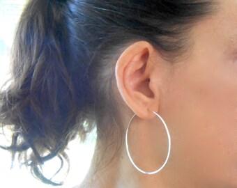 Large Sterling Silver Hoop Earrings, 2 inch Simple Classic Silver Hoops